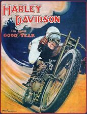 """Vintage Harley Davidson - Goodyear Tire Racing Reproduction -20 x26"""" on Canvas"""