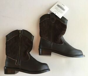 NWT Janie & Jack Fall Frontier Brown Leather Cowboy Boots 6 06 for 18-24 Months