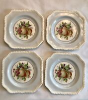 Set Of Four Old English Johnson Brothers Salad Plates, Light Blue Rims With Pear