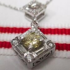 Beautiful 14K White Gold Yellow Diamond Necklace with an 18 Inch Gold Chain