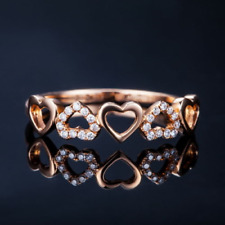 Special Heart Shape 14K Solid Rose Gold Natural Diamond Wedding Band Ring