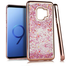 For Samsung Galaxy S9 Rose Gold Motion Glitter Crystal Rocks Phone Cases