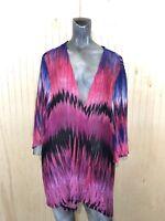 Maggie Barnes Catherines Women 3X 26/28 Pink Black Ombre Open Front Top Layer
