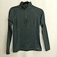 REEBOK Women's Black & Gray Patterned Half Zip Athletic Top - Size Small