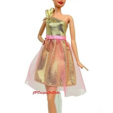 Barbie Fashion Metallic Gold and Pink Dress 2017 Fits Regular Tall Curvy NO DOLL