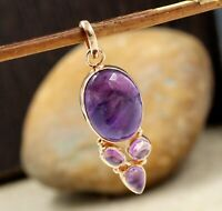 925 Sterling Silver Jewelry Amethyst Gemstone Rose Gold Platet Gift Pendant