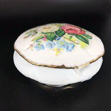 """Limoges Jammet Seignolles 7"""" Round Floral Porcelain Trinket Box Gold Trimmed"""