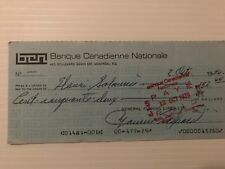 Maurice Richard signed (General Fishing Lines) cheque  (autographed)