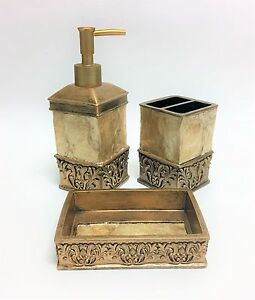 NEW 3 PC SET ANTIQUE GOLD TONE+MOP,FLORAL RESIN SOAP,LOTION DISPENSER+DISH+TOOTH
