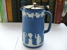 Antique 19th c Wedgwood Blue Jasper Ware Wine Jug With Articulated Lid