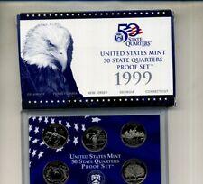 1999 S STATE QUARTER 5 COIN PROOF SET ORIGINAL GOVERNMENT BOX AND COA