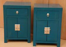 Pair of Sanya Teal Solid Wood Oriental Bedside Tables 1 Drawers Cupboard Hand