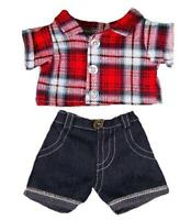 "RED CHECKED SHIRT & JEANS SET TEDDY CLOTHES FITS 15""-16"" (40CM) TEDDY BEARS"