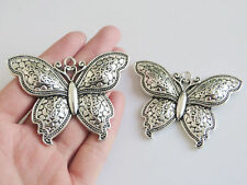 5pcs Antique Silver Large Butterfly Charms Pendants For Jewelry Making Findings
