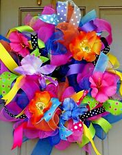 Handmade Spring Summer Everyday Deco Mesh Tropical Flower Wreath & Door Decor