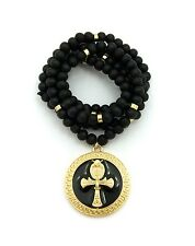 """NEW ANKH CROSS ROUND PENDANT &36"""" WOODEN BEAD CHAIN HIP HOP NECKLACE - RC2029GBK"""