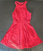 Speechless Juniors' Red Lace Halter Sleeveless Formal Dress Size XS Retail $398