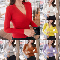 Shirt Knit Slim Sweater Cocktail Party Neck Women Sexy Basic Top Peplum Blouse V