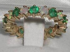 9ct Yellow Gold Ladies Opal & Emerald Full Eternity Ring