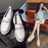 Women's Casual Platform White Pearl Tassel Slip On Loafers Wedge Heels Shoes Sz