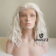"14"" White Short Curly Fluffy Hair Lolita Women Daily Party Lace Front Wig + Cap"