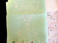 2 True Vtg*1 White Eyelet & 1 Mint Green Bath Guest Hand Towel*Exc Con*
