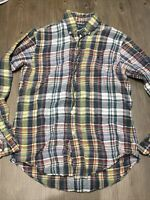 Vintage Polo Ralph Lauren Flannel Button Up Shirt Size Small Custom Fit Yellow