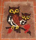 Vintage 1970s Owl Latch Hook Rug Wall Art HIppie Boho Kitch Raw Edges 28 x 21