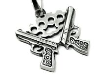 Knuckle Duster Guns Pendant Thug Lawless Gangster Pewter Cord Necklace Punk Rock