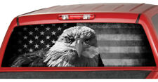 AMERICAN EAGLE B/W Flag banner Rear Window PERFORATED Decal Tint Sticker Truck