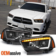 Fit [Switchback LED] 2011-2014 Dodge Charger Black DRL Tube Projector Headlights
