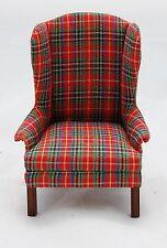 Vtg Dollhouse Miniature Queen Anne Wingback Chair Red Plaid Artisan d. Anne Ruff