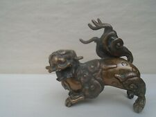 More details for fabulous chinese antique bronze foo dog statue (signed underneath)   nice thing