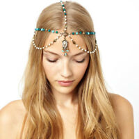 Women Pearl Beads Metal Head Chain BOHO Headpiece Hair Band Headband Jewelry