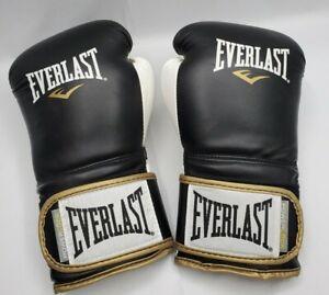 Everlast Powerlock 16 oz Boxing Training Gloves White & Black w Gold Trim Sz XL