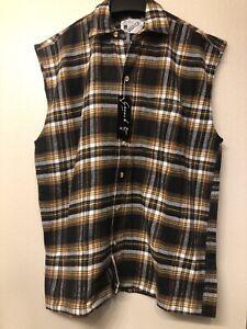 vtg goouch mens shirt trucker size L sleeveless plaid red navy flannel NEW