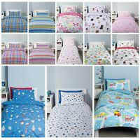 Kids Reversible Quilt Duvet Cover & Pillow Case Bedding Set Girls Boys Single