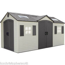 NEW Lifetime Outdoor Garden Shed 15 x 8 ft. Dual-Entry Storage Unit - Curb Ship!