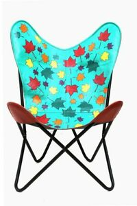 Orbit Art Gallery Leather Living Room Chairs-Butterfly Chair Leather Leaf Print