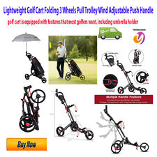 Lightweight Golf Cart Folding 3 Wheels Pull Trolley Wind Adjustable Push Handle