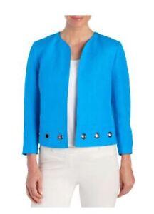 NWT KASPER® Linen Grommet Studded Blazer / Jacket, Grotto Blue, Size 6, $129