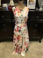 Calvin Klein Floral Asymmetrical Hem White Pink Orange Belted Dress Size 8