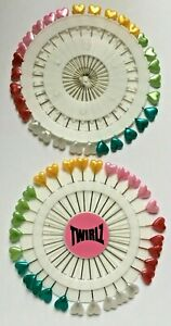 2 x 30 Wheels Fancy Headed Pins, Leaf Heart, Flower Pearl & Tear Drop FREE P&P