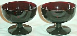 "2 ROYAL RUBY SHERBET DESSERTS CHAMPAGNE GLASSES  RED PLAIN STEM VINTAGE  3"""