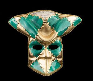 Maske Casanova Venedig- Bauta Grün Karneval Fasching Ball- Venetian VG14 1474