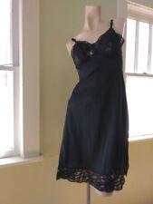 VTG 1950s Full Slip Black Lacy Butterfly 50s Lingerie Butterfield 8 Sz S M