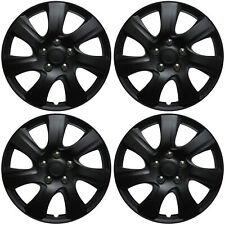 "Hubcaps 15"" Inch BLACK MATTE (Set of 4) Universal Wheel Covers Hub Caps Cap"