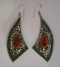 ethnic handmade classic hook sterling silver earrings tops turquoise ER31