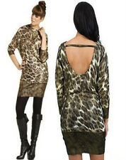 NWT BABY PHAT LEOPARD FOIL animal PRINT OPEN BACK Sweater Dress 1X 14 16  PLUS