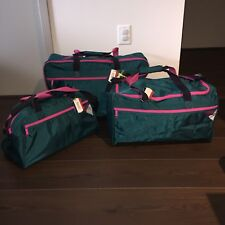 Vintage 80s 90s 3 Piece American Tourister Vibrations Teal Pink Luggage Set